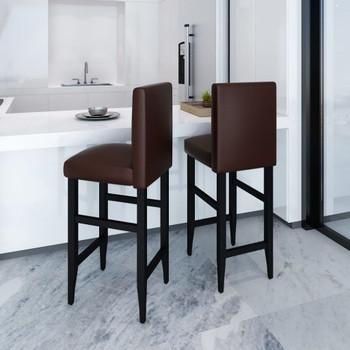 vidaXL Barski stolci od umjetne kože 2 kom tamnosmeđi