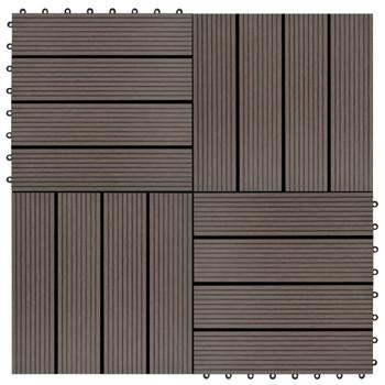 vidaXL Pločice za trijem 22 kom 30 x 30 cm 2 m² WPC tamnosmeđe