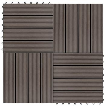 vidaXL Pločice za trijem 11 kom WPC 30 x 30 cm 1 m² tamnosmeđe