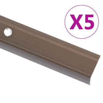 vidaXL Rubnjaci za stepenice L-oblika 5 kom aluminijski 134 cm smeđi