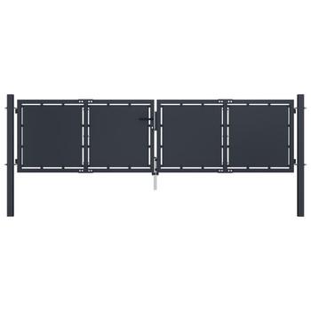 vidaXL Vrtna vrata čelična 300 x 75 cm antracit
