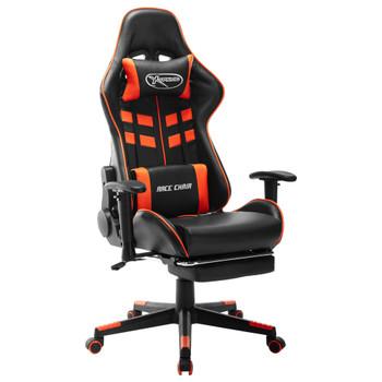 vidaXL Igraća stolica s osloncem za noge umjetna koža crno-narančasta