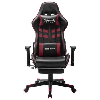 vidaXL Igraća stolica od umjetne kože crna i crvena boja vina