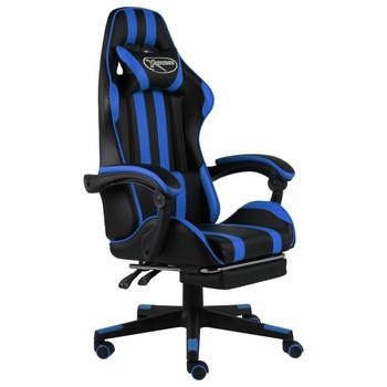 vidaXL Igraća stolica od umjetne kože s osloncem za noge crno-plava