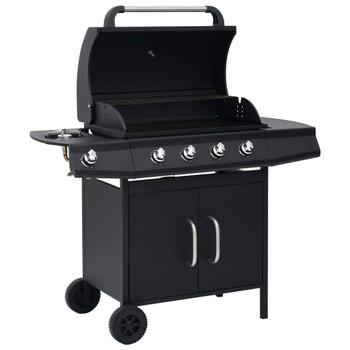 vidaXL Plinski roštilj s 4 +1 zonom za kuhanje crni