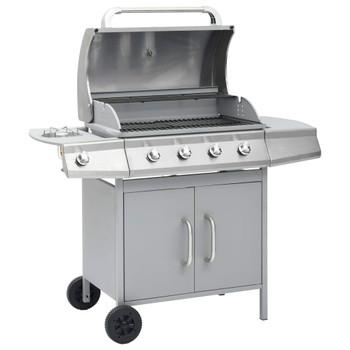 vidaXL Plinski roštilj s 4 +1 zonom za kuhanje srebrni