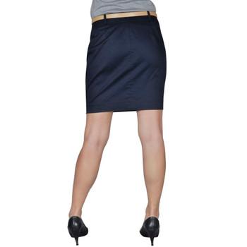 Tamno plava mini suknja s remenom, 36