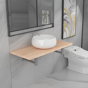 vidaXL Dvodijelni set kupaonskog namještaja keramički boja hrasta