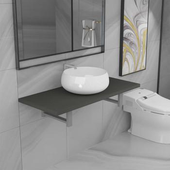 vidaXL Dvodijelni set kupaonskog namještaja keramički sivi
