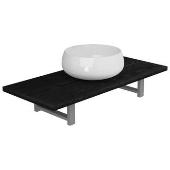 vidaXL Dvodijelni set kupaonskog namještaja keramički crni