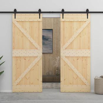 vidaXL Klizna vrata s priborom za montažu 90 x 210 cm masivna borovina