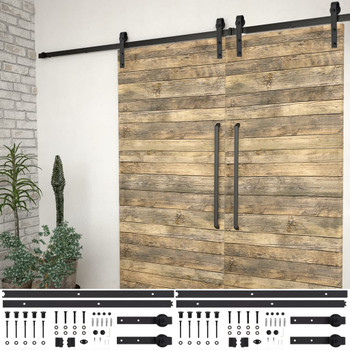 vidaXL Pribori za klizna vrata 2 kom 200 cm čelični crni