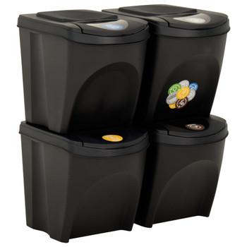 vidaXL Složive kante za otpad 4 kom antracit 100 L