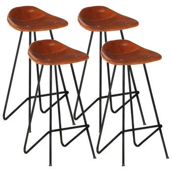 vidaXL Barski stolci od prave kože 4 kom smeđi