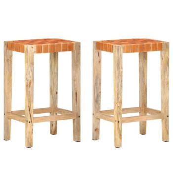 vidaXL Barski stolci od prave kože 2 kom smeđi 75 cm