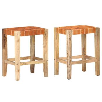 vidaXL Barski stolci od prave kože 2 kom smeđi 60 cm