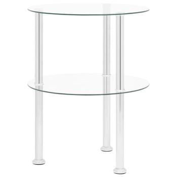 vidaXL Bočni stolić s 2 razine prozirni 38 cm od kaljenog stakla