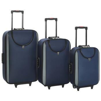 vidaXL Mekani kovčezi s kotačima 3 kom modri od tkanine Oxford