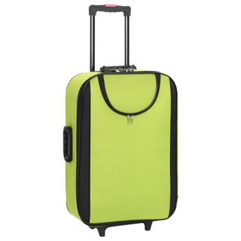 vidaXL Mekani kovčezi s kotačima 3 kom zeleni od tkanine Oxford