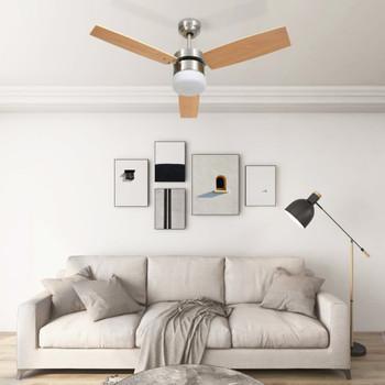 vidaXL Stropni ventilator sa svjetlom i daljinskim 108 cm svjetlosmeđi
