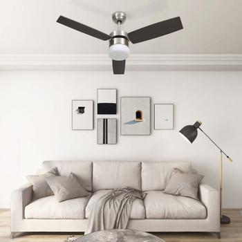 vidaXL Stropni ventilator sa svjetlom i daljinskim 108 cm tamnosmeđi