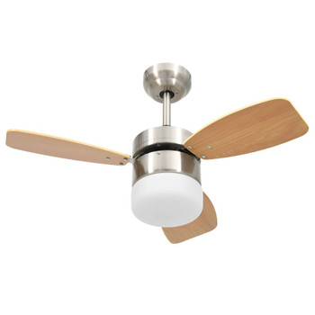 vidaXL Stropni ventilator sa svjetlom i daljinskim 76 cm svjetlosmeđi