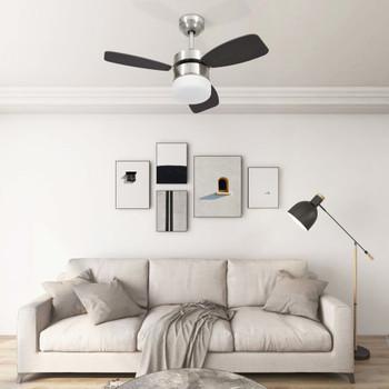 vidaXL Stropni ventilator sa svjetlom i daljinskim 76 cm tamnosmeđi