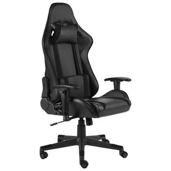 vidaXL Okretna igraća stolica crna PVC