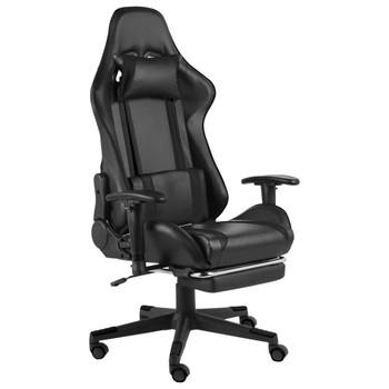 vidaXL Okretna igraća stolica s osloncem za noge crna PVC