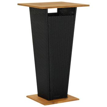 vidaXL Barski stol crni 60x60x110 cm poliratan i masivno drvo bagrema