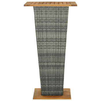 vidaXL Barski stol sivi 60x60x110 cm poliratan i masivno drvo bagrema