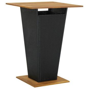 vidaXL Barski stol crni 80x80x110 cm poliratan i masivno drvo bagrema