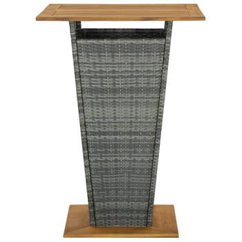 vidaXL Barski stol sivi 80x80x110 cm poliratan i masivno drvo bagrema