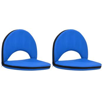 vidaXL Sklopive podne stolice 2 kom plave od čelika i tkanine