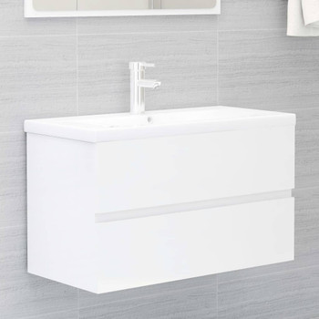vidaXL Ormarić za umivaonik visoki sjaj bijeli 80x38,5x45 cm iverica