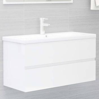 vidaXL Ormarić za umivaonik visoki sjaj bijeli 90x38,5x45 cm iverica