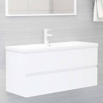 vidaXL Ormarić za umivaonik bijeli 100 x 38,5 x 45 cm od iverice