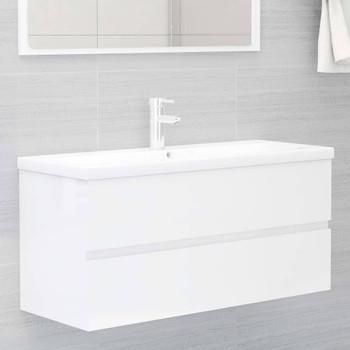 vidaXL Ormarić za umivaonik visoki sjaj bijeli 100x38,5x45 cm iverica