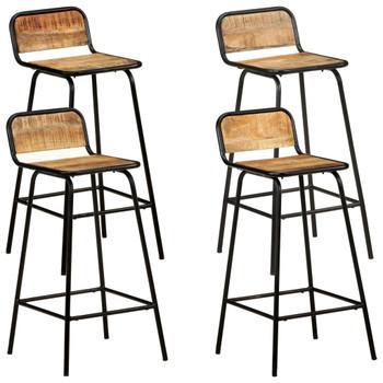 vidaXL Barske stolice 4 kom od masivnog drva manga