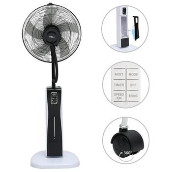 vidaXL Ventilator na postolju s maglicom i daljinskim crno-bijeli