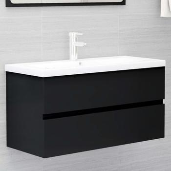 vidaXL Ormarić za umivaonik crni 90 x 38,5 x 45 cm od iverice