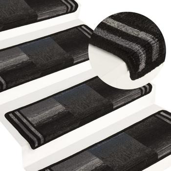 vidaXL Samoljepljivi otirači za stepenice 15 kom 65 x 25 cm crno-sivi