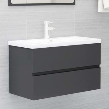 vidaXL Ormarić za umivaonik sivi 80 x 38,5 x 45 cm od iverice