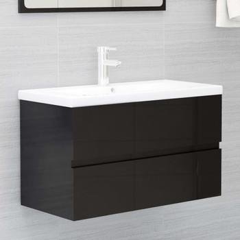 vidaXL Ormarić za umivaonik visoki sjaj crni 80 x 38,5 x 45 cm iverica