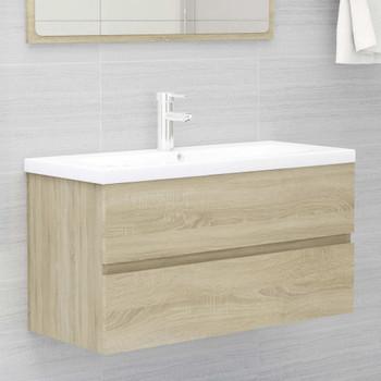 vidaXL Ormarić za umivaonik boja hrasta sonome 90x38,5x45 cm iverica
