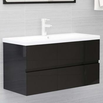 vidaXL Ormarić za umivaonik visoki sjaj crni 90 x 38,5 x 45 cm iverica