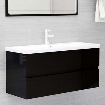 vidaXL Ormarić za umivaonik visoki sjaj crni 100x38,5x45 cm od iverice