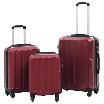 vidaXL 3-dijelni set čvrstih kovčega crvena boja vina ABS