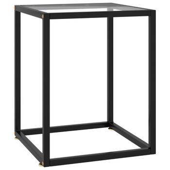vidaXL Stolić za kavu crni s kaljenim staklom 40 x 40 x 50 cm