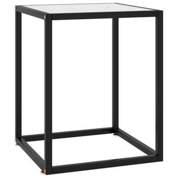 vidaXL Stolić za kavu crni s bijelim mramornim staklom 40 x 40 x 50 cm